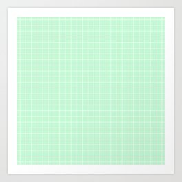 Mint Green with White Grid Art Print