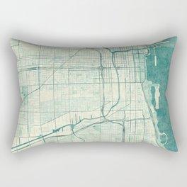 Chicago Map Blue Vintage Rectangular Pillow