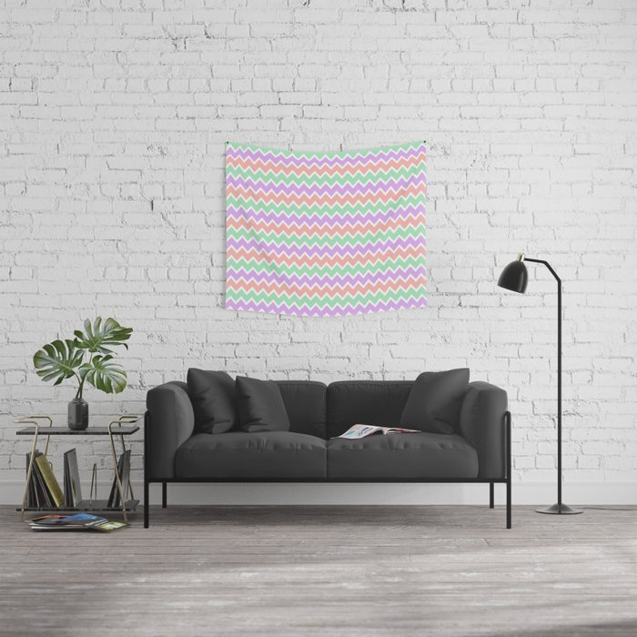Coral Peach Pink and Lavender and Mint Green Chevron Wall Tapestry