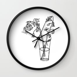Bluebells Botanical Flower Illustration - Continuous Line Drawing - Floral Sketch Wall Clock