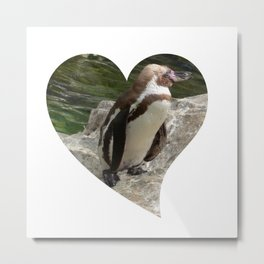 Penguin in heart shape Metal Print
