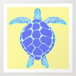 Beach Yellow Turtle Art Print