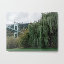 St. John's Bridge from Cathedral Park Metal Print