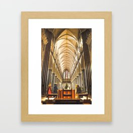 Salisbury Cathedral At Christmas Time Framed Art Print