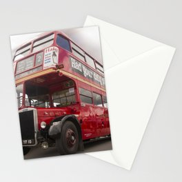 Old Red London Bus Vintage transport Stationery Cards