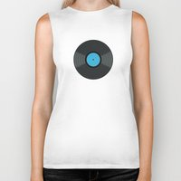 records Biker Tanks featuring Vinyl Records by PatternInk