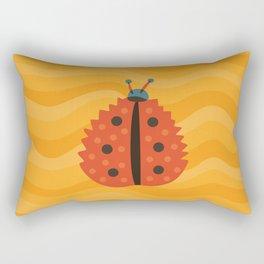 Orange Ladybug Autumn Leaf Rectangular Pillow