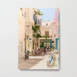 Summer vibes | Typical street in Syros town, with houses in pastel pink and yellow. | Travel photography from Greece | Fine art photo print.  Metal Print