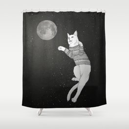 Cat trying to catch the Moon Shower Curtain