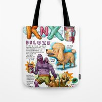 propaganda Tote Bags featuring DOGFOOD PROPAGANDA by Mister Kern