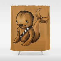 chewbacca Shower Curtains featuring Chewbacca Whale by CoolBreezDesigns