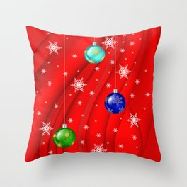 Christmas balls with background Throw Pillow