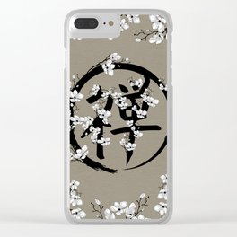 Blossoming Enso circle and Zen hieroglyph #1 Clear iPhone Case