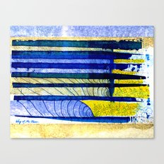 WAY OF THE OCEAN - Yellow & Blue Waves Canvas Print