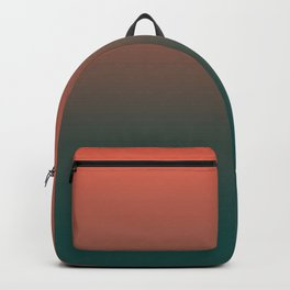 Pantone Living Coral & Forest Biome Green Gradient Ombre Blend, Soft Horizontal Line Backpack