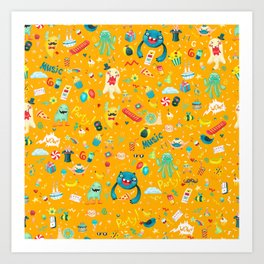 Party monsters (yellow) Art Print