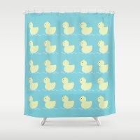 ducks Shower Curtains featuring Ducks  by Art à la Mutuz