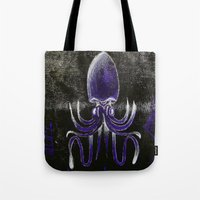 squid Tote Bags featuring Squid by Sara Pfefer