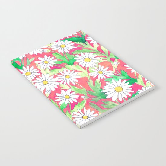 Sketchbook Daisies Coral Notebook
