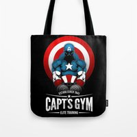 gym Tote Bags featuring Capt's Gym by Corey Courts