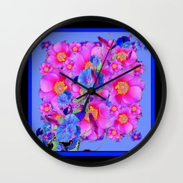 Black Asymmetric Blue Morning Glories Pink Roses Art Wall Clock