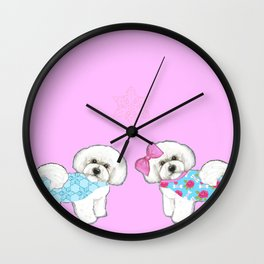 Bichon Frise Dogs in love- wearing pink and blue coats Wall Clock