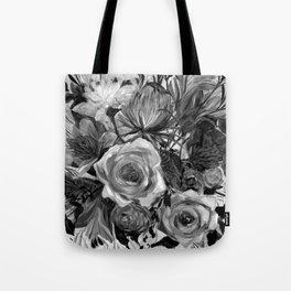 Bella Rose Black and White Tote Bag