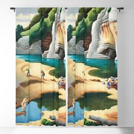 Classical Masterpiece 'Swimming Hole in American West' by Thomas Hart Benton Blackout Curtain