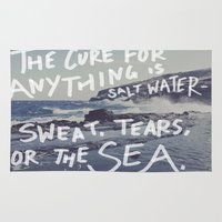 salt water Area & Throw Rugs featuring Salt Water by Leah Flores