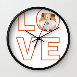 Love Guinea Pigs graphic - print for Guinea Pig Fans Wall Clock