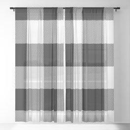 Big Black and White Buffalo Plaid Sheer Curtain