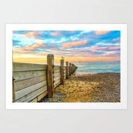 Cromer Beach at Sunset Art Print