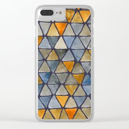 Eclipse Colorway - Tesselate Burnt Orange and Blue Triangle Pattern Clear iPhone Case