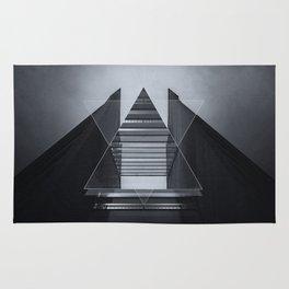 The Hotel (experimental futuristic architecture photo art in modern black & white) Rug