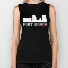 Red White Blue Fort Wayne Indiana Skyline Biker Tank