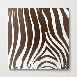 Zebra Stripes | Chocolate Brown and White Metal Print