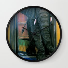 the elephant in the elevator Wall Clock