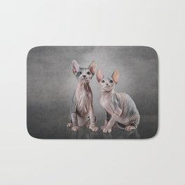 Drawing two cats Sphynx, hairless Bath Mat
