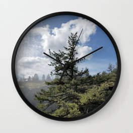 Gnarled Tree Against Blue Sky and Clouds, Beautiful Landscape of Old Tree Wall Clock