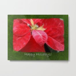 Mottled Red Poinsettia 2 Happy Holidays P1F5 Metal Print