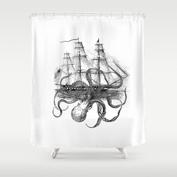 Octopus Attacks Ship On White Background Shower Curtain By Paperrescuedesigns
