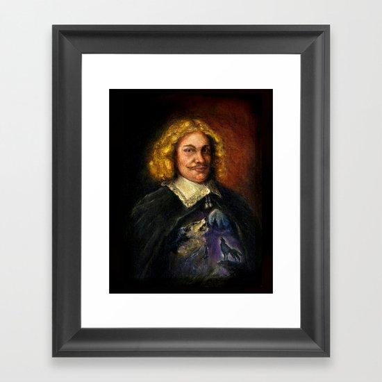 Portrait of a Sweet Dude Rockin a Sweeter than Hell Wolf Shirt  Framed Art Print