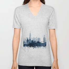 Chicago City Skyline Blue Watercolor by zouzounioart Unisex V-Neck