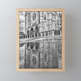 Leon Cathedral Reflection Framed Mini Art Print