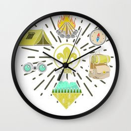 Scout Campfire Camp Compass Hiking Adventure Nature Gift Wall Clock