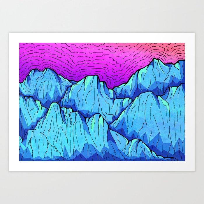 Blue tone mountains Art Print