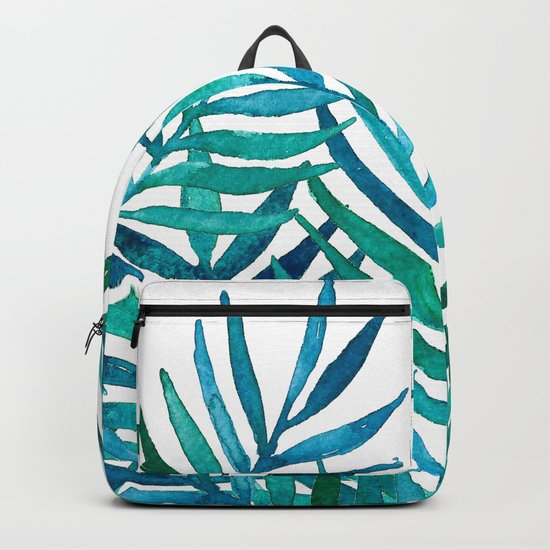 Watercolor Palm Leaves on White Backpack