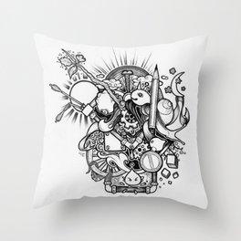 Doodle (Black version) Throw Pillow