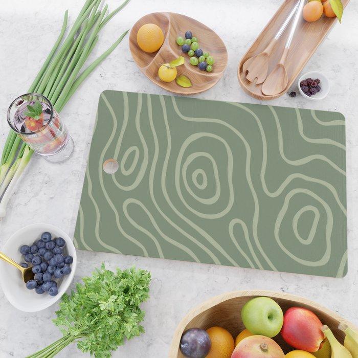 Topographic Map / Grayish Green Cutting Board