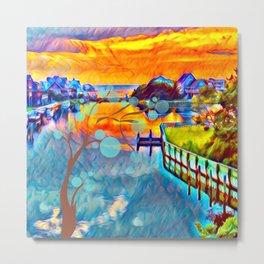 Orange Rising Sun Abstract Metal Print